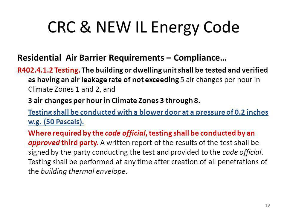 CRC & NEW IL Energy Code Residential Air Barrier Requirements – Compliance… R402.4.1.2 Testing.