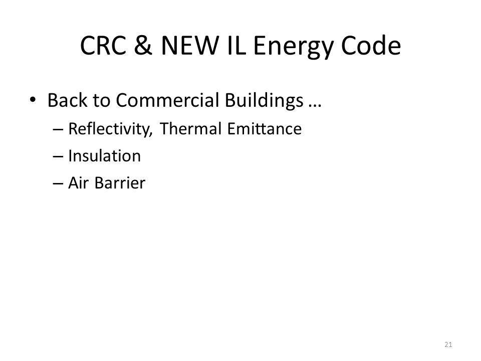 CRC & NEW IL Energy Code Back to Commercial Buildings … – Reflectivity, Thermal Emittance – Insulation – Air Barrier 21