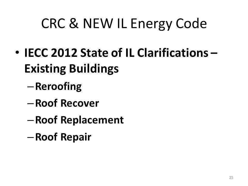 CRC & NEW IL Energy Code IECC 2012 State of IL Clarifications – Existing Buildings – Reroofing – Roof Recover – Roof Replacement – Roof Repair 25