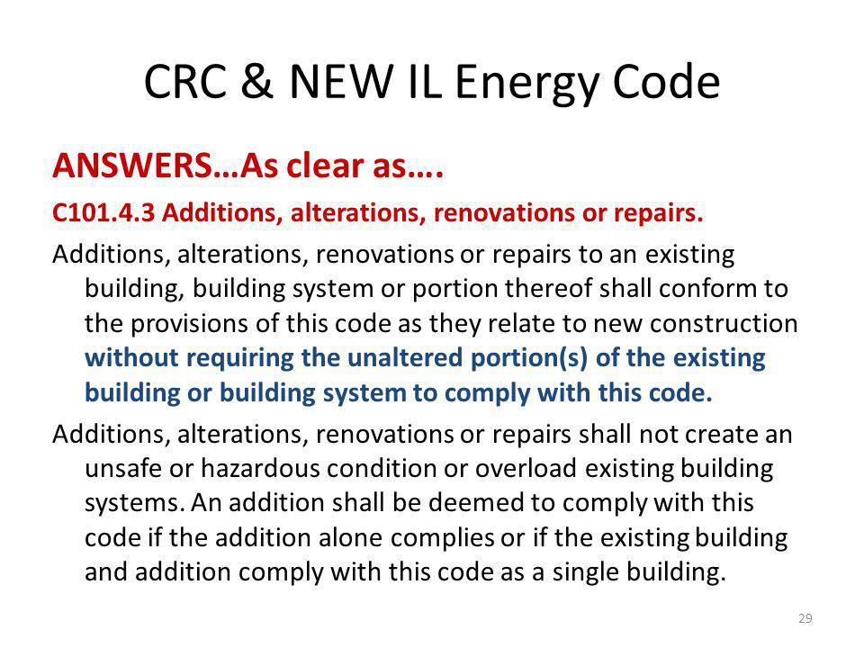 CRC & NEW IL Energy Code ANSWERS…As clear as….