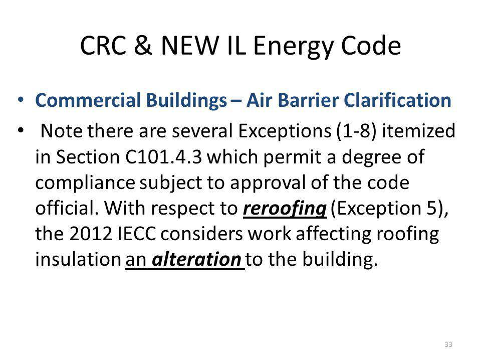 CRC & NEW IL Energy Code Commercial Buildings – Air Barrier Clarification Note there are several Exceptions (1-8) itemized in Section C101.4.3 which permit a degree of compliance subject to approval of the code official.