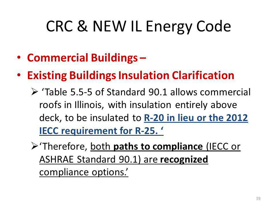 CRC & NEW IL Energy Code Commercial Buildings – Existing Buildings Insulation Clarification Table 5.5-5 of Standard 90.1 allows commercial roofs in Illinois, with insulation entirely above deck, to be insulated to R-20 in lieu or the 2012 IECC requirement for R-25.