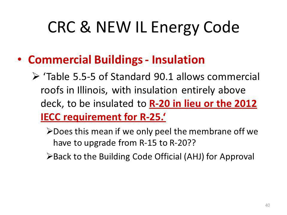 CRC & NEW IL Energy Code Commercial Buildings - Insulation Table 5.5-5 of Standard 90.1 allows commercial roofs in Illinois, with insulation entirely above deck, to be insulated to R-20 in lieu or the 2012 IECC requirement for R-25.