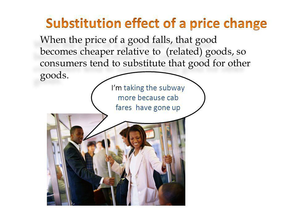 A fall in the price of a good increases consumers real income.