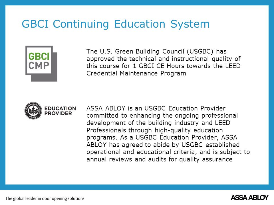 GBCI Continuing Education System The U.S.