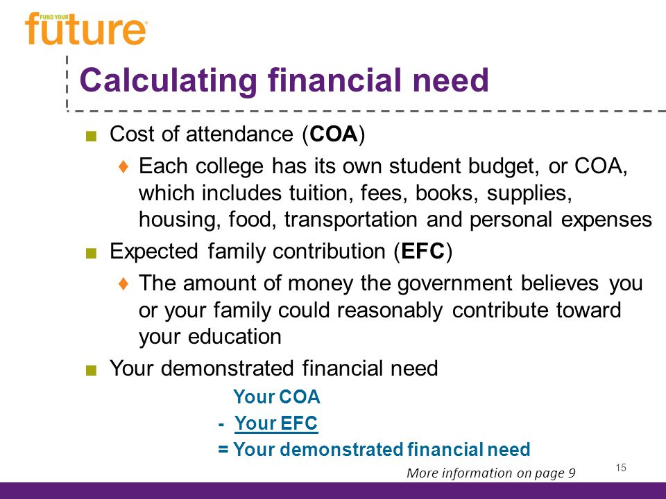 Calculating financial need Cost of attendance (COA) Each college has its own student budget, or COA, which includes tuition, fees, books, supplies, housing, food, transportation and personal expenses Expected family contribution (EFC) The amount of money the government believes you or your family could reasonably contribute toward your education Your demonstrated financial need Your COA - Your EFC = Your demonstrated financial need 15 More information on page 9