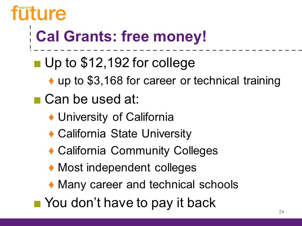 Cal Grants: free money.