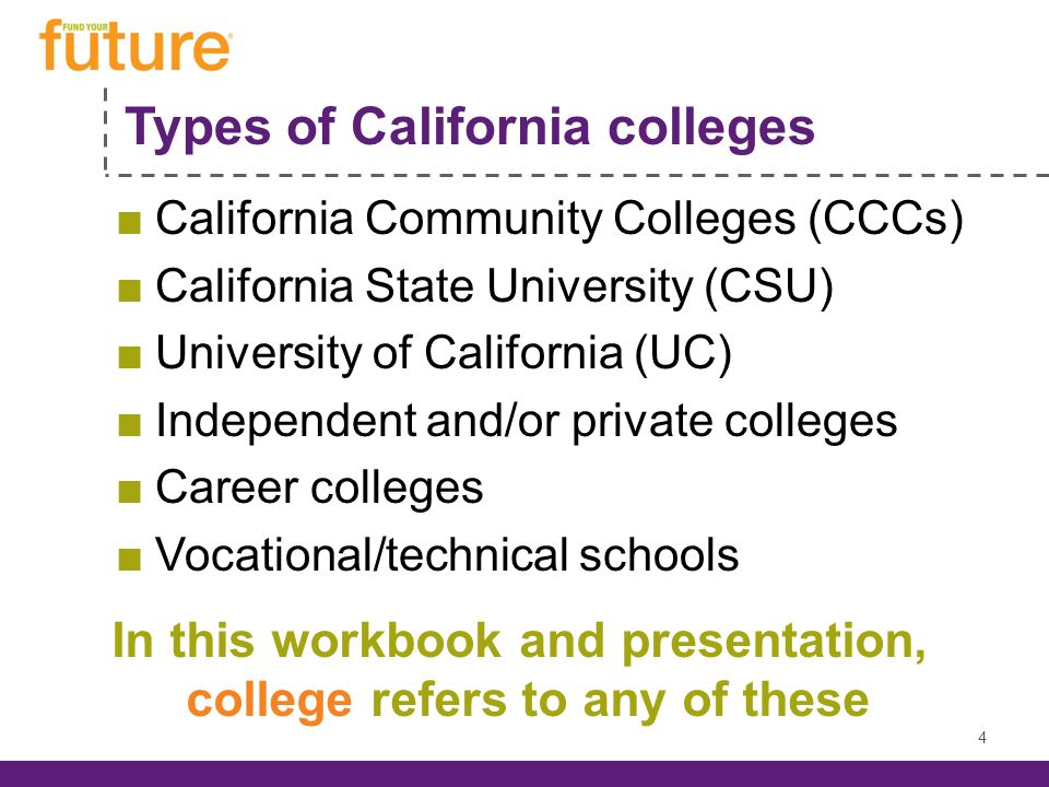 Types of California colleges California Community Colleges (CCCs) California State University (CSU) University of California (UC) Independent and/or private colleges Career colleges Vocational/technical schools 4 In this workbook and presentation, college refers to any of these
