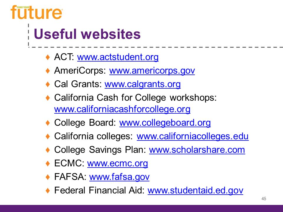 Useful websites ACT: www.actstudent.orgwww.actstudent.org AmeriCorps: www.americorps.govwww.americorps.gov Cal Grants: www.calgrants.orgwww.calgrants.org California Cash for College workshops: www.californiacashforcollege.org www.californiacashforcollege.org College Board: www.collegeboard.orgwww.collegeboard.org California colleges: www.californiacolleges.eduwww.californiacolleges.edu College Savings Plan: www.scholarshare.comwww.scholarshare.com ECMC: www.ecmc.orgwww.ecmc.org FAFSA: www.fafsa.govwww.fafsa.gov Federal Financial Aid: www.studentaid.ed.govwww.studentaid.ed.gov 45