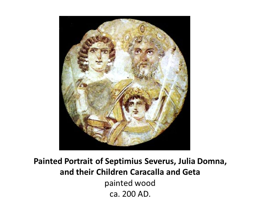 Painted Portrait of Septimius Severus, Julia Domna, and their Children Caracalla and Geta painted wood ca. 200 AD.