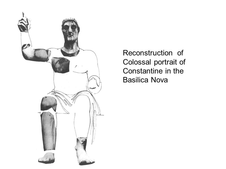 Reconstruction of Colossal portrait of Constantine in the Basilica Nova