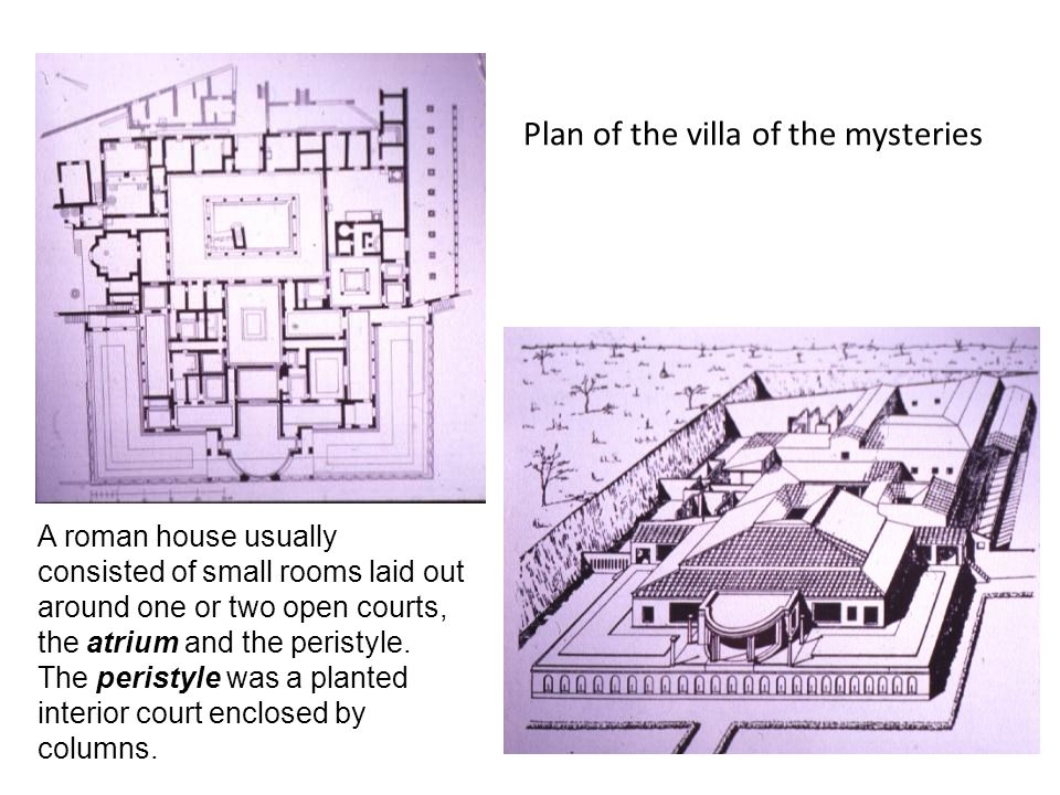 Plan of the villa of the mysteries A roman house usually consisted of small rooms laid out around one or two open courts, the atrium and the peristyle