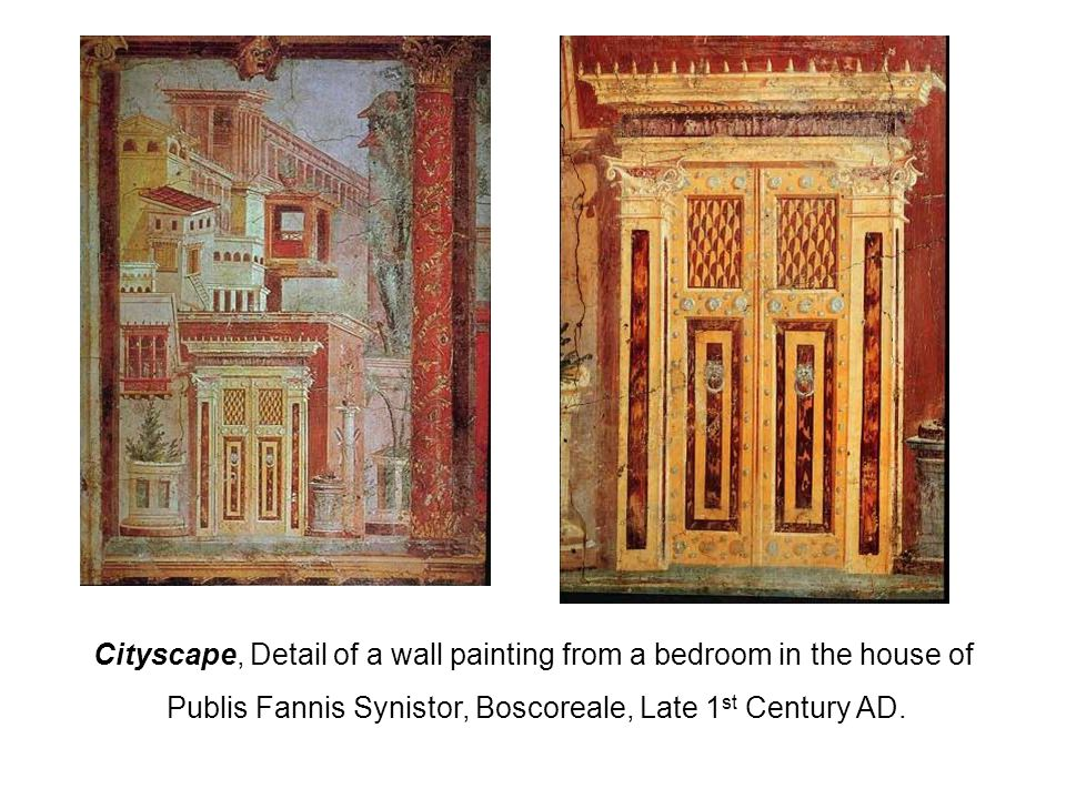 Cityscape, Detail of a wall painting from a bedroom in the house of Publis Fannis Synistor, Boscoreale, Late 1 st Century AD.