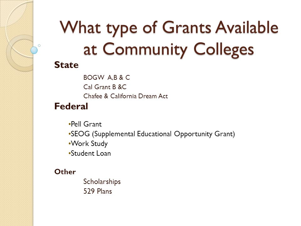 Board of Governors Fee Waiver for Community College California state residents Covers the cost of tuition Covers tuition fee for three semesters- summer, fall, spring Three types: A, B & C