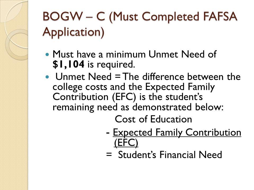 Federal Financial Aid (SEOG Grant) Based on financial need.