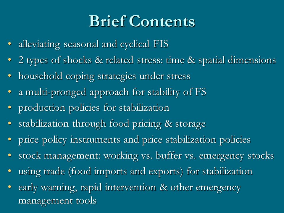 Price Policy Instruments & Effects