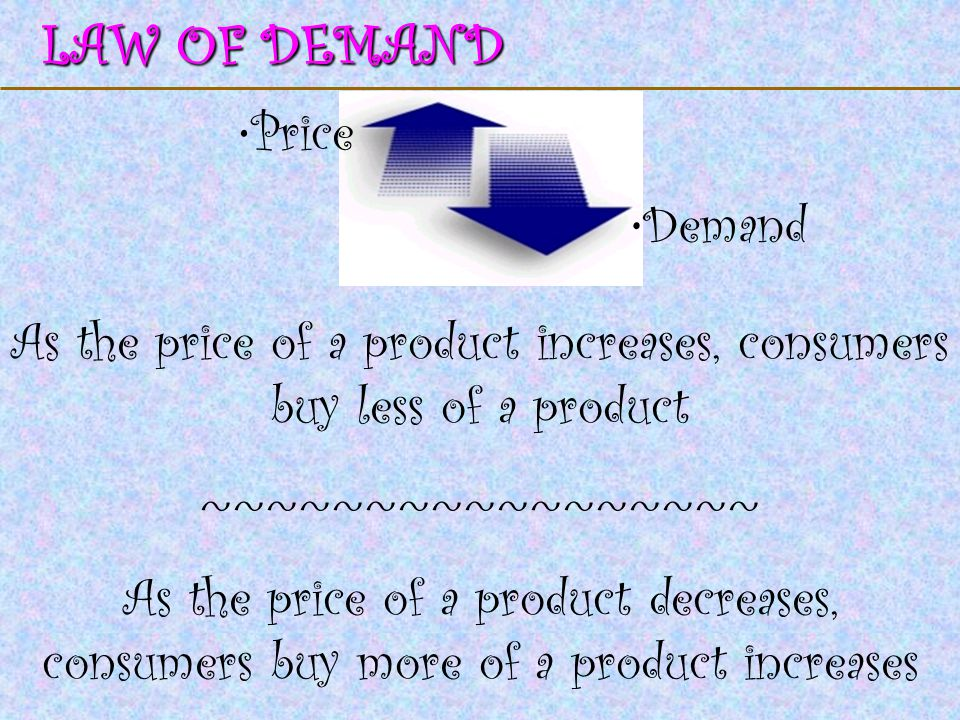 123 Go To Section: LAW OF DEMAND Price Demand As the price of a product increases, consumers buy less of a product ~~~~~~~~~~~~~~~~~ As the price of a