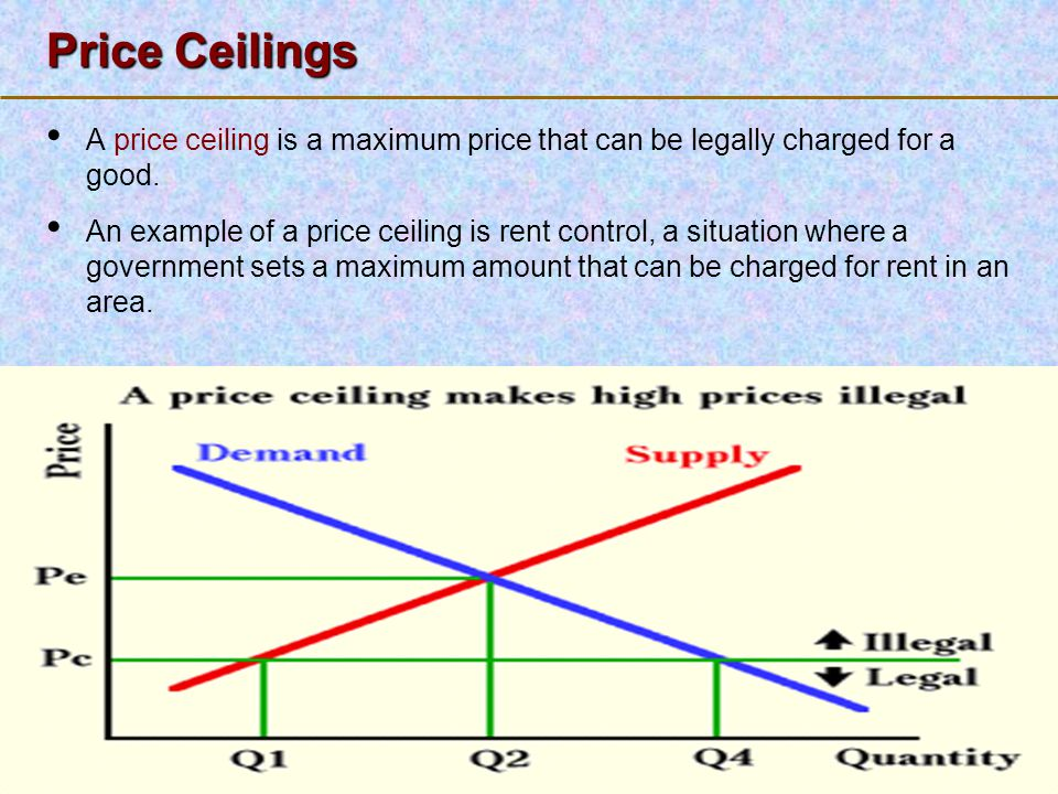 123 Go To Section: Price Ceilings A price ceiling is a maximum price that can be legally charged for a good. An example of a price ceiling is rent con