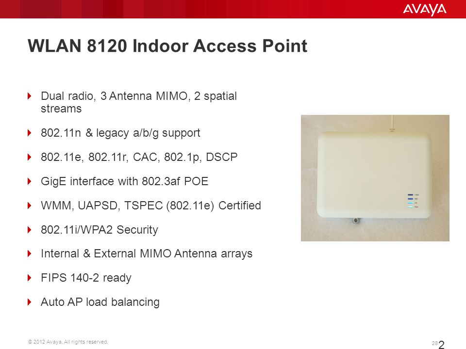 © 2012 Avaya. All rights reserved. 28 28 WLAN 8120 Indoor Access Point Dual radio, 3 Antenna MIMO, 2 spatial streams 802.11n & legacy a/b/g support 80