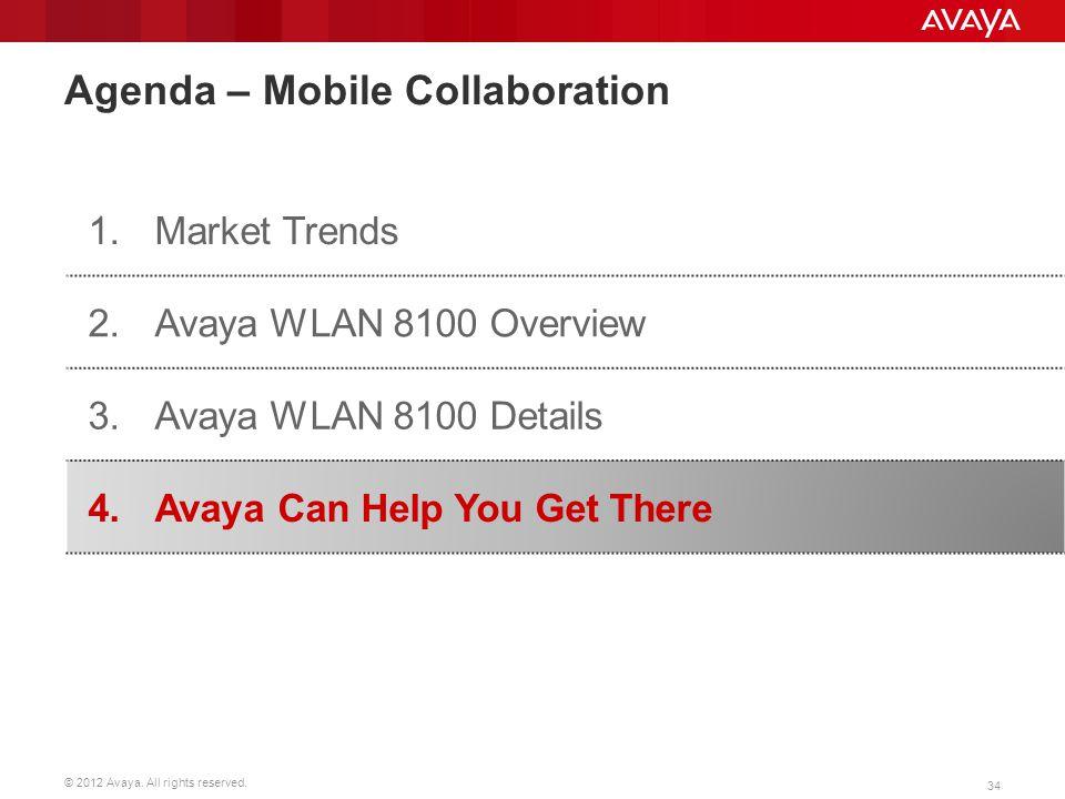 © 2012 Avaya. All rights reserved. 34 Agenda – Mobile Collaboration 1.Market Trends 2.Avaya WLAN 8100 Overview 3. Avaya WLAN 8100 Details 4.Avaya Can