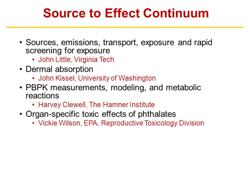 Source to Effect Continuum Sources, emissions, transport, exposure and rapid screening for exposure John Little, Virginia Tech Dermal absorption John
