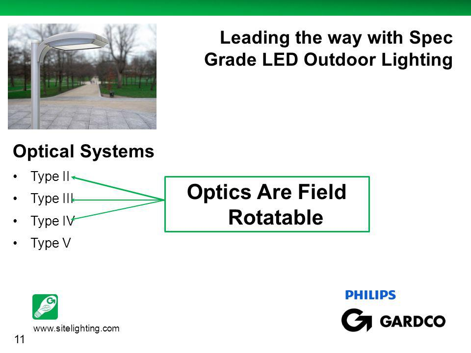 www.sitelighting.com http://www.case-mate.com/iPhone-3G-Cases/Case-Mate-iPhone-3G--3GS-Say-What- Cases.asp Leading the way with Spec Grade LED Outdoor Lighting Optical Systems Type II Type III Type IV Type V Optics Are Field Rotatable 11