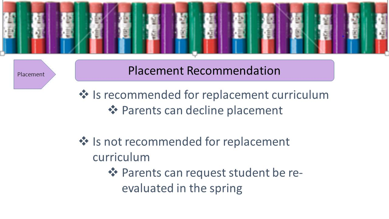 Placement Placement Recommendation Is recommended for replacement curriculum Parents can decline placement Is not recommended for replacement curriculum Parents can request student be re- evaluated in the spring