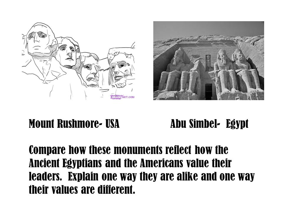 Mount Rushmore- USAAbu Simbel- Egypt Compare how these monuments reflect how the Ancient Egyptians and the Americans value their leaders. Explain one