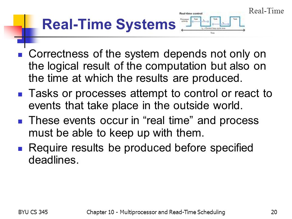 BYU CS 345Chapter 10 - Multiprocessor and Read-Time Scheduling20 Real-Time Systems Correctness of the system depends not only on the logical result of the computation but also on the time at which the results are produced.