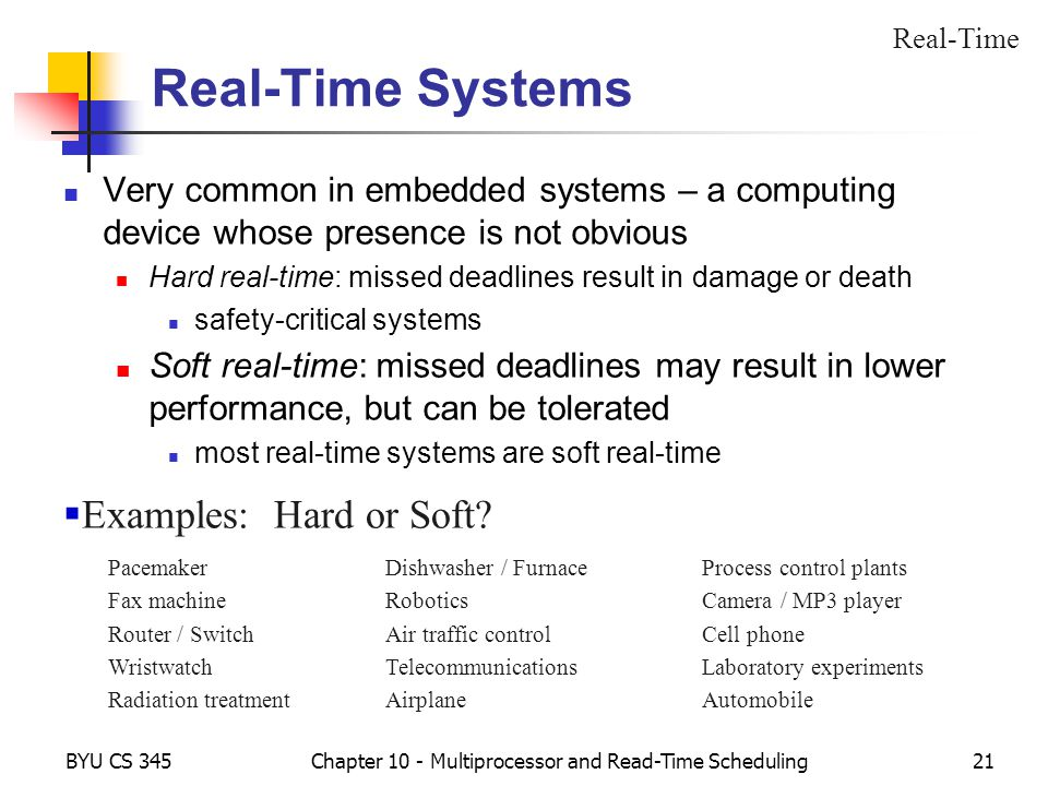 BYU CS 345Chapter 10 - Multiprocessor and Read-Time Scheduling21 Real-Time Systems Very common in embedded systems – a computing device whose presence