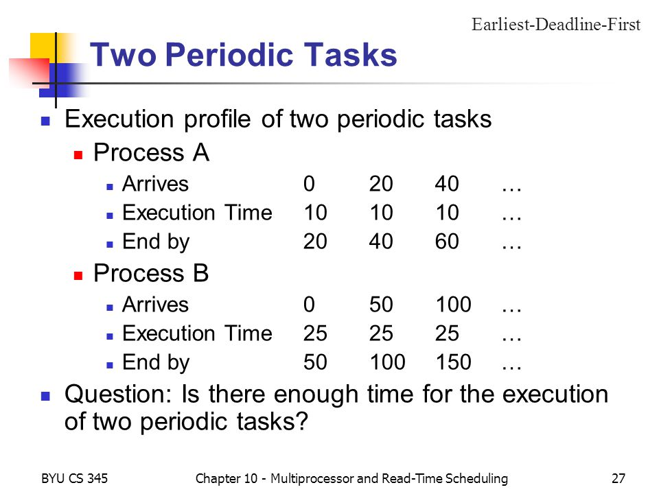 BYU CS 345Chapter 10 - Multiprocessor and Read-Time Scheduling27 Two Periodic Tasks Execution profile of two periodic tasks Process A Arrives02040… Execution Time101010… End by204060… Process B Arrives050100… Execution Time252525… End by50100150… Question: Is there enough time for the execution of two periodic tasks.