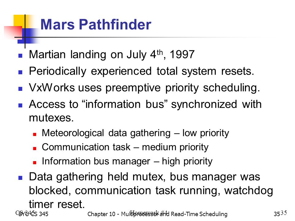 BYU CS 345Chapter 10 - Multiprocessor and Read-Time Scheduling35 Mars Pathfinder Martian landing on July 4 th, 1997 Periodically experienced total system resets.