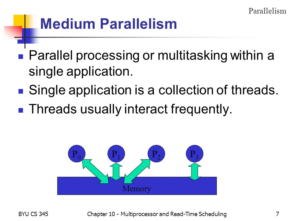 BYU CS 345Chapter 10 - Multiprocessor and Read-Time Scheduling7 Medium Parallelism Parallel processing or multitasking within a single application.