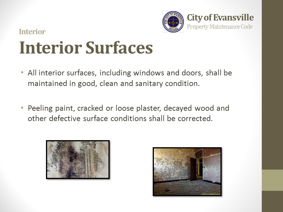 Interior Interior Surfaces All interior surfaces, including windows and doors, shall be maintained in good, clean and sanitary condition. Peeling pain