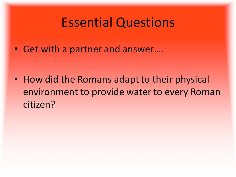 Essential Questions Get with a partner and answer….