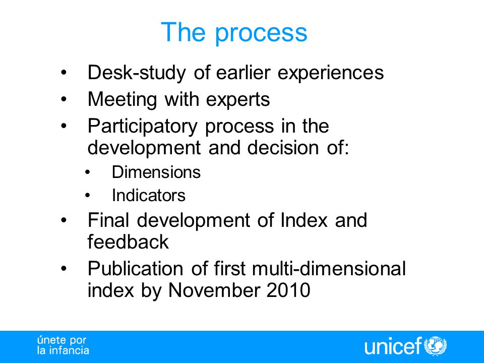 The process Desk-study of earlier experiences Meeting with experts Participatory process in the development and decision of: Dimensions Indicators Fin