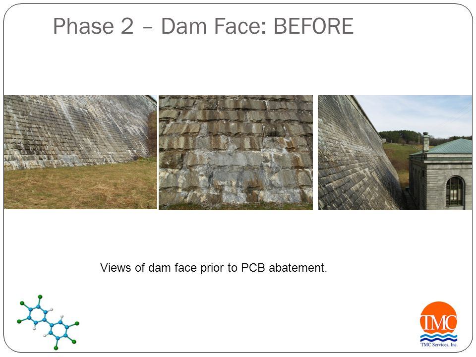 Phase 2 – Dam Face: BEFORE Views of dam face prior to PCB abatement.