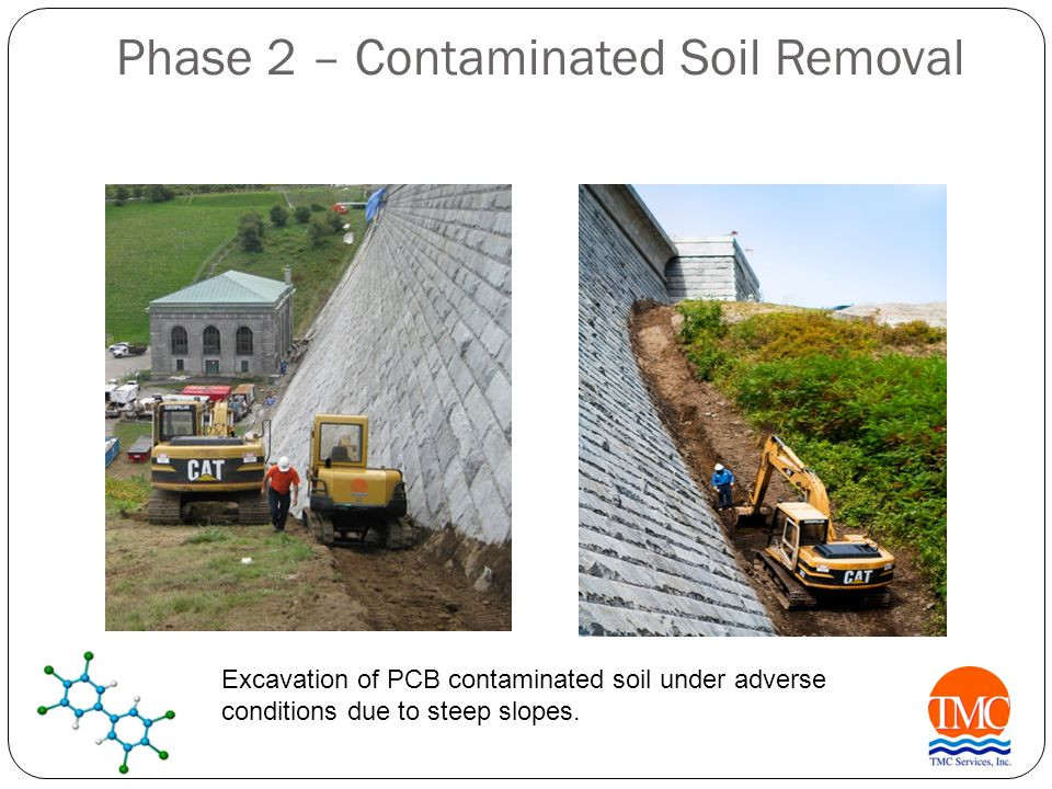 Phase 2 – Contaminated Soil Removal Excavation of PCB contaminated soil under adverse conditions due to steep slopes.