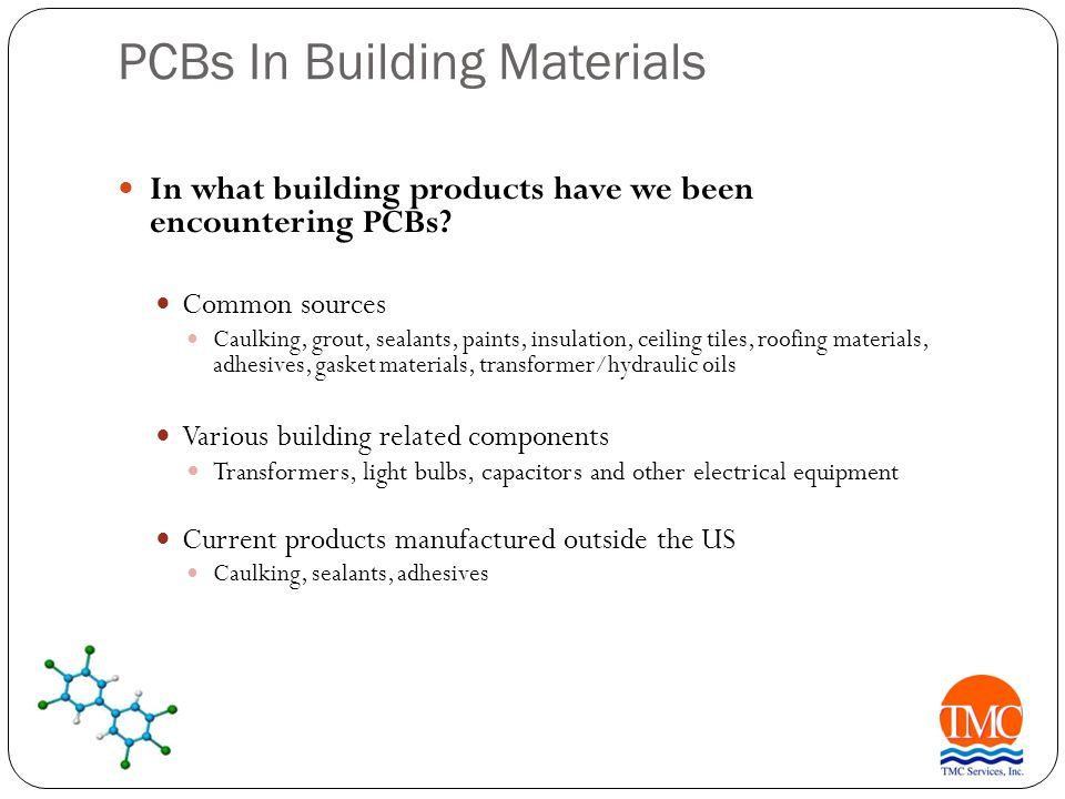 PCBs In Building Materials Likely affected areas.