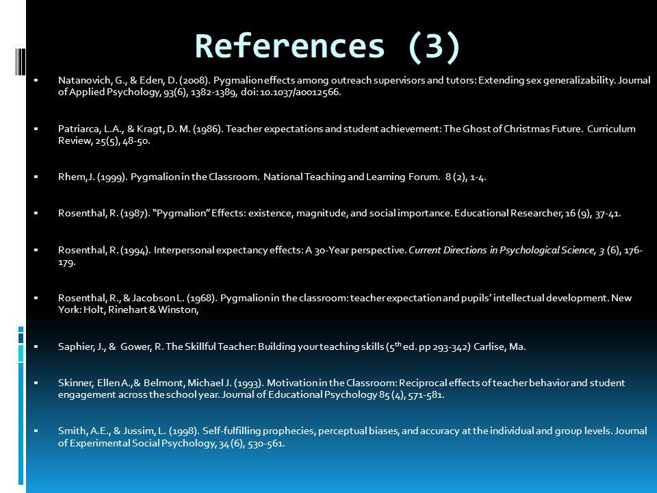References (3) Natanovich, G., & Eden, D. (2008).