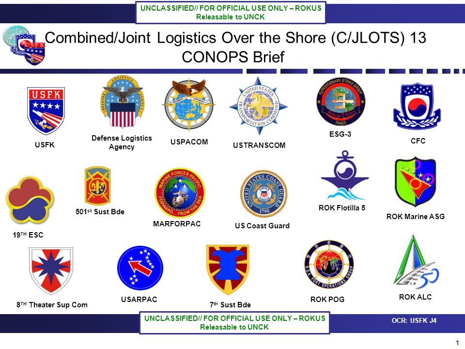 12 OCR: USFK J4 UNCLASSIFIED// FOR OFFICIAL USE ONLY – ROKUS Releasable to UNCK UNCLASSIFIED// FOR OFFICIAL USE ONLY – ROKUS Releasable to UNCK Pier Sync Matrix #1 #2 #3 #5 #7 #6-2 4.9.(Tue)~19.(Fri) USN ROKN