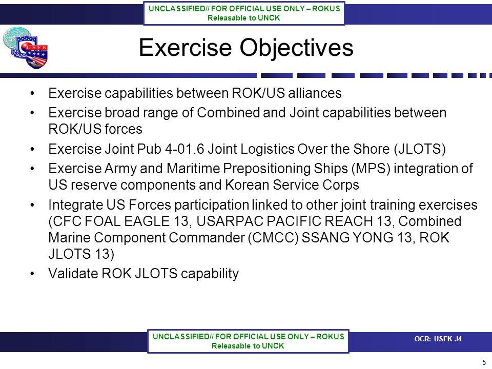 6 OCR: USFK J4 UNCLASSIFIED// FOR OFFICIAL USE ONLY – ROKUS Releasable to UNCK UNCLASSIFIED// FOR OFFICIAL USE ONLY – ROKUS Releasable to UNCK CJTF JLOTS COMMAND STAFF ESG-3 C/JLOTS CDR RDML Hueber 7 th Fleet FLOT 5 ROK JLOTS CDR RDML Parks FLOT 5 (191) Beach Opns Grp (80) MARFORPAC Offload Prep Party (77) Arriv/Assem Opns Grp (50) ESG – Expeditionary Strike Grp, CTF – Com Task Force, FLOT – Flotilla, UCT – Und Const Team, LCR – Land Craft Util, LCM – Land Craft Mech, LSV – Logistic Sup Vessel, MCT – Mod Cau Trident, ICTC – Inland Cargo Transfer Command, TCSP – Transportation Consolidation & Shipping Point, SLCP – Sea Literage Control Point, BLCP – Beach Literage Control Point Nav Beach Grp 1 (15) Beach Master Unit 1 (24) Amp Const BN1 (230) Assault Craft Unit (18) Nav Car Hand BN (92) UCT 2 (18) ESG3 (30) Mil Sealift Com (22) ROK Nav Ops Center DEPUTY/COS COL Reinkober (7 th SBDE) J-1 ADMIN LTC Lobrecht (19 th ESC) LCDR Rogers (ESG-3) LCDR Choi (FLOT 5) ROK COS TBD (SQN 55) JAG LCDR Lahiff (ESG-3) CHAPLAIN LTC Causey (19 TH ESC) J-2 INTEL CDR Wise (ESG-3) CPT Libby (19 th ESC) LCDR Kim (FLOT 5) PAO MAJ Orland (USFK) SURGEON COL Leong (19 TH ESC) J-3 OPERATIONS LtCol Griffiths (ESG-3) LTC Sweeney ( 7 th SBDE) CDR Baek (FLOT 5) J-4 LOGISTICS LTC Hutcherson ( 19 th ESC) MAJ Vetalou (19 th ESC) CDR Jung (FLOT 5) J-6 COMM.