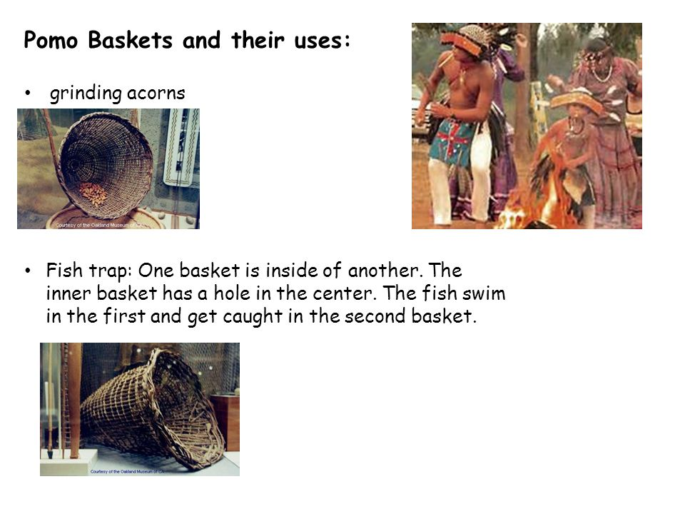 Pomo Baskets and their uses: grinding acorns Fish trap: One basket is inside of another.