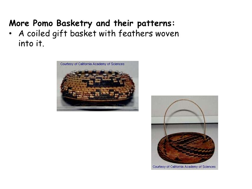 More Pomo Basketry and their patterns: A coiled gift basket with feathers woven into it.