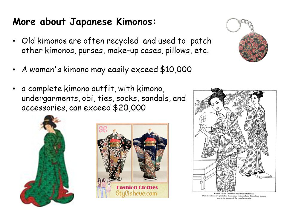 More about Japanese Kimonos: Old kimonos are often recycled and used to patch other kimonos, purses, make-up cases, pillows, etc.