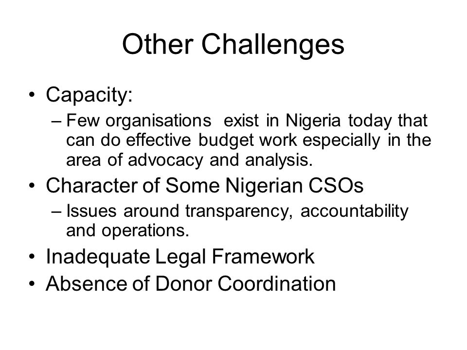 Other Challenges Capacity: –Few organisations exist in Nigeria today that can do effective budget work especially in the area of advocacy and analysis.