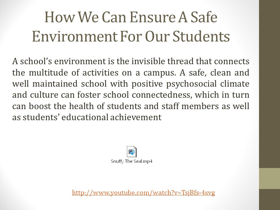 How We Can Ensure A Safe Environment For Our Students A schools environment is the invisible thread that connects the multitude of activities on a campus.