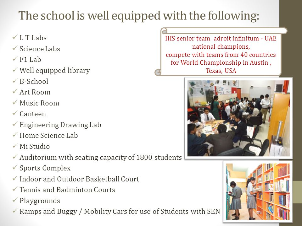 Healthy Environment I.H.S promotes good health and well being of students by strictly adhering to well designed programs and policies.