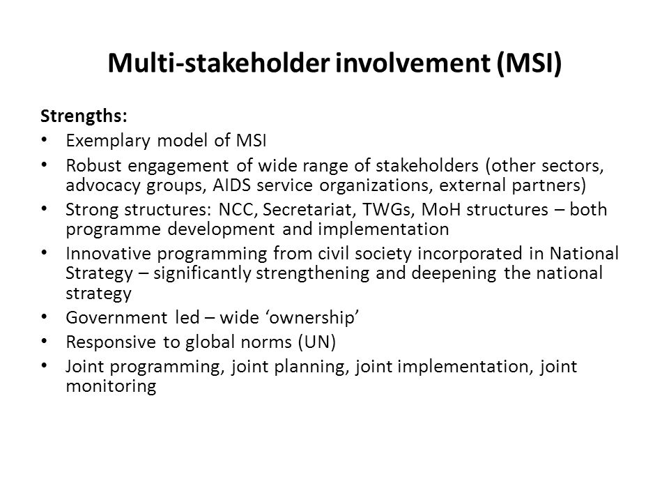 Multi-stakeholder involvement (MSI) Strengths: Exemplary model of MSI Robust engagement of wide range of stakeholders (other sectors, advocacy groups, AIDS service organizations, external partners) Strong structures: NCC, Secretariat, TWGs, MoH structures – both programme development and implementation Innovative programming from civil society incorporated in National Strategy – significantly strengthening and deepening the national strategy Government led – wide ownership Responsive to global norms (UN) Joint programming, joint planning, joint implementation, joint monitoring