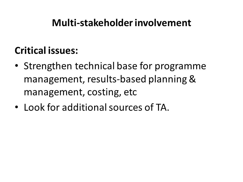 Multi-stakeholder involvement Critical issues: Strengthen technical base for programme management, results-based planning & management, costing, etc Look for additional sources of TA.